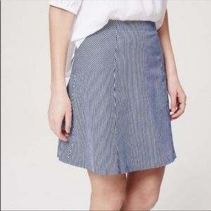 Loft Seersucker Blue White Pinstripe Skirt 8